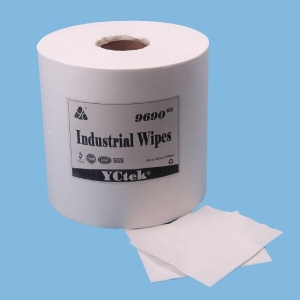 55 % Woodpulp45 % non-tissé de Polyester Spunlace for Industrial Cleaning Wipes