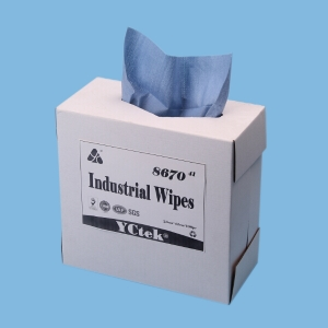 Blue 60gsm Pop Up 70% Woodpulp 30% PP Industrial Cleaning Industrial Wipes