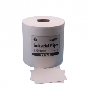 China Supplier Woodpulp Polyester Cleaning Paper Roll