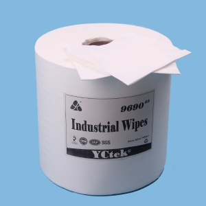 China Supplier Woodpulp and Polyester Spunlace Nonwoven Wiper Cloth Roll