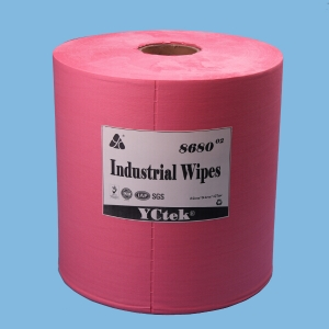 Red Embossed Nonwoven 70% Woodpulp 30% PP Cleaning Wipes