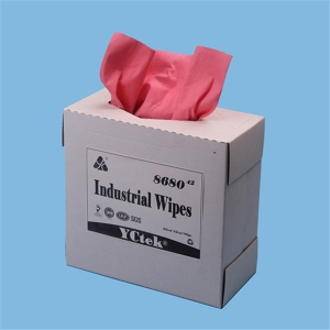 "YCtek80 Industrial Cleaning Wipes 9.1"" x 16.8"" Pop-Up Box, Red, 80 Sheets / Box"