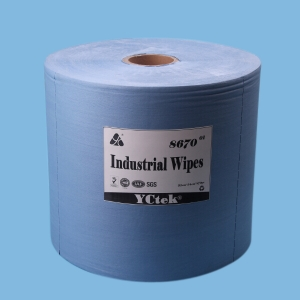 YCtek70 Blue Woodpulp PP Nonwoven Lint free Industrial Wiping Paper